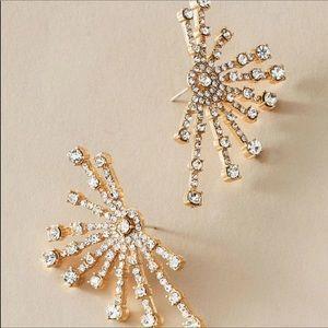 NWT Anthropologie Gold Crystal Firework Earrings